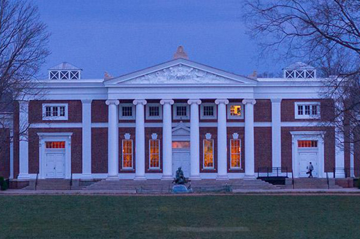 An image of Old Cabell Hall at dusk.